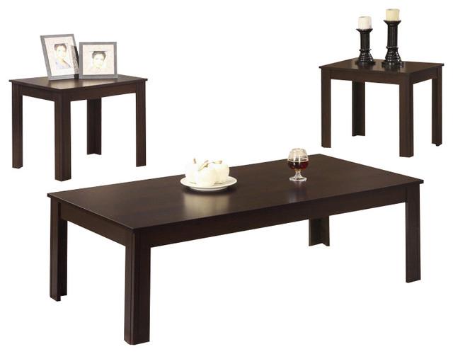 3-Piece Classic Casual Dark Walnut Black Coffee End Occasional Table Set.