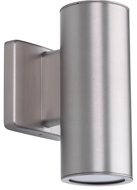 Cylinders 2-Light Outdoor Wall Lights, Satin Nickel.