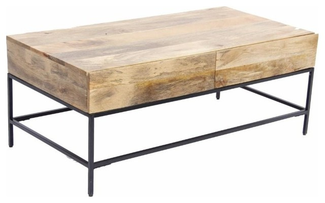 The Urban Port Mango Wood Coffee Table With 2 Drawers Brown And Black