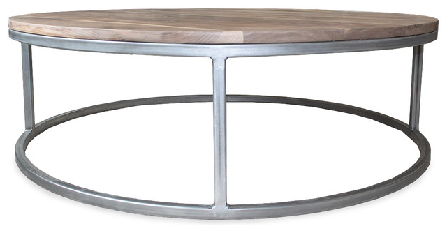 Walnut Wood And Metal Two Tier Round Coffee Table Welded Steel - Welded coffee table