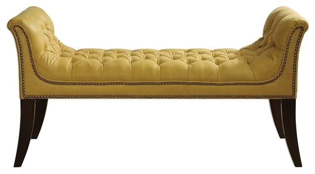 Henning Mustard Upholstered Bench. -1