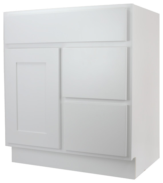 "30 Bathroom Vanity Drawers cabinet mania white shaker 30"" bathroom vanity with right drawers"