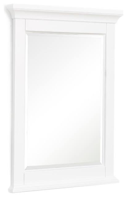 "Newport 24"" Wall Mirror, White. -1"