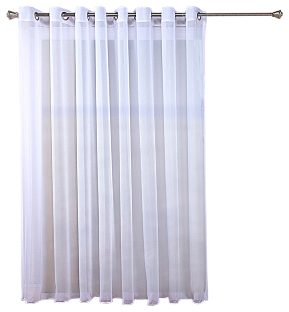 Tergaline Double Wide Grommet Curtain Panel With Weighted Hem White 108 X63