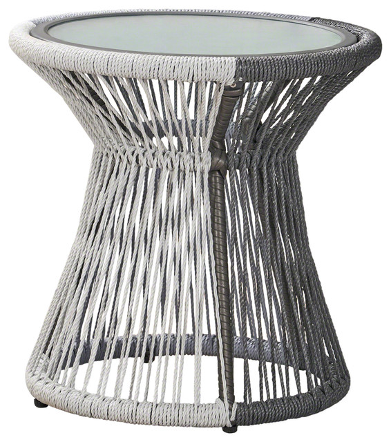 Miraculous Gdf Studio Connie Outdoor Rope Woven Side Table With Glass Top Gray White Cjindustries Chair Design For Home Cjindustriesco