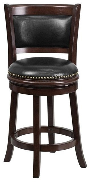 24&x27;&x27; High Cappuccino Wood Counter Height Stool With Black Leather Swivel Seat.