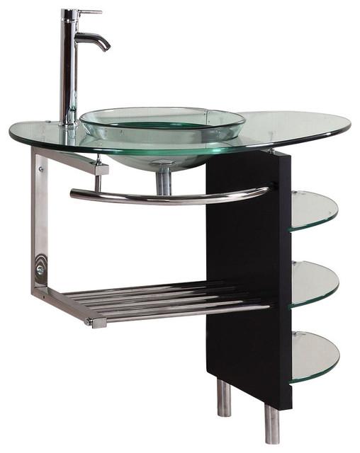 "Bathroom Vanities Vessel Sinks Sets 39"" belvedere modern vanity set w/ glass top, vessel sink, shelves"
