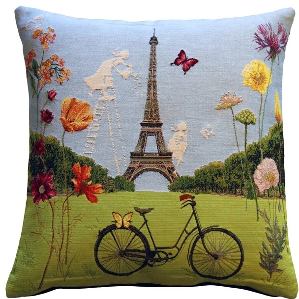 Pillow Decor Eiffel Tower In Spring Tapestry Throw Pillow Inspiration Paris Themed Decorative Pillows