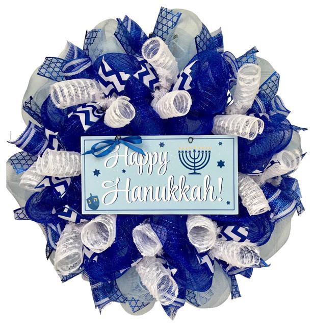 Happy Hanukkah Wreath With Menorah And Dreidal Handmade Deco Mesh.
