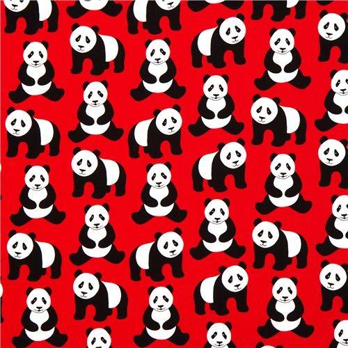 red Robert Kaufman fabric Menagerie with panda bears