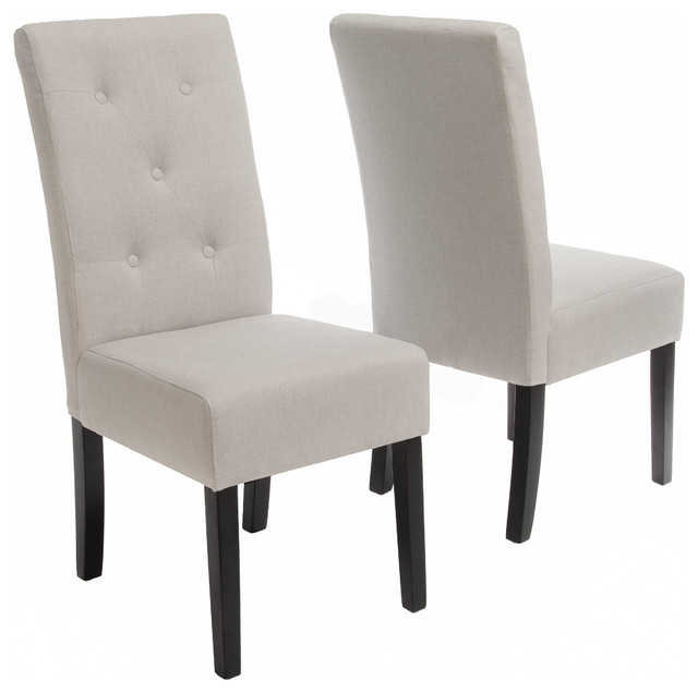 alexander natural fabric dining chairs, set of 2 - transitional