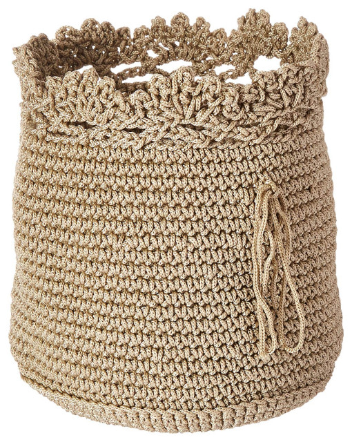 Heritage Lace Mode Crochet Basket Set 3 W Trim Contemporary Baskets By Uber Bazaar