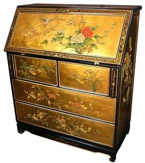 Oriental Furniture Gold Leaf Secretary Desk Desks And Hutches