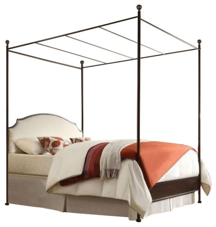King Size Metal Canopy Bed With White Cream Linen Upholstered