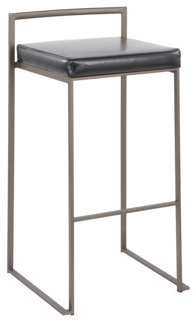 Lumisource Fuji Stackable Barstool, Antique With Black Faux Leather, Set of 2