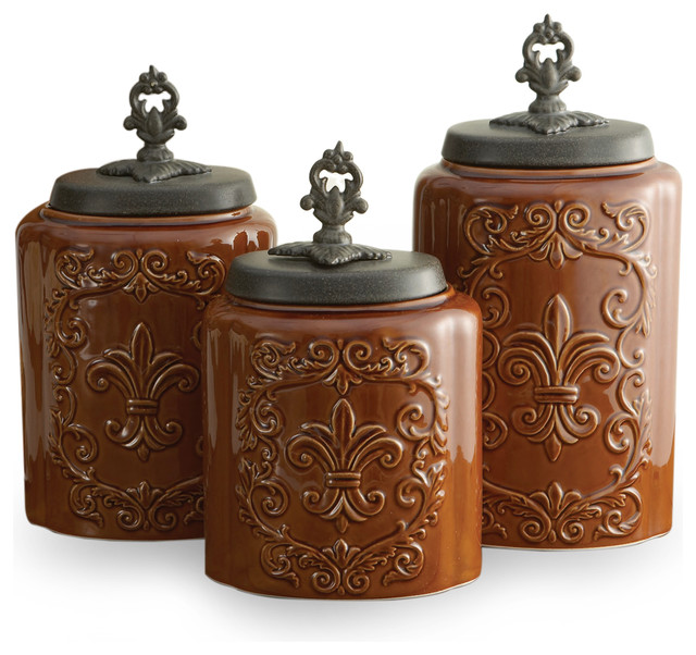 brown kitchen canister sets antique canisters set of 3 brown contemporary 16503