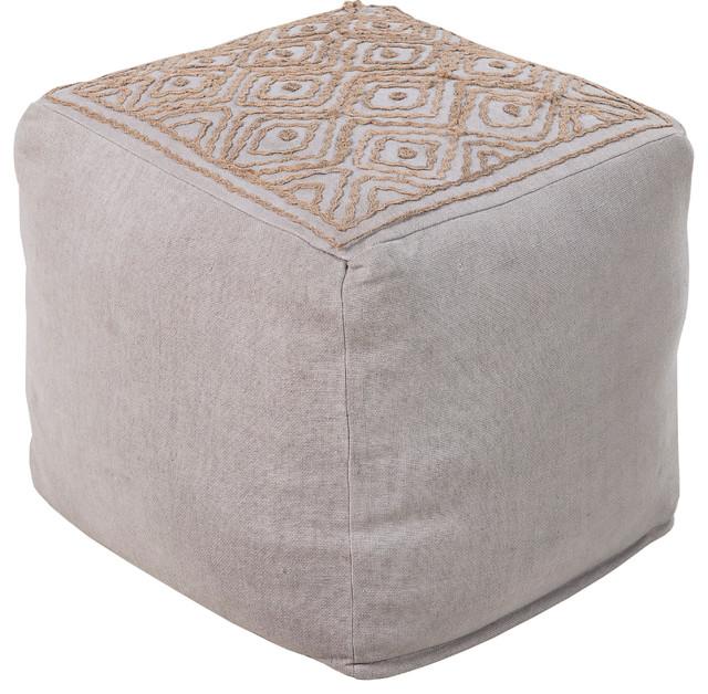 Surya Poufs Cube Pouf, Gray, Brown.