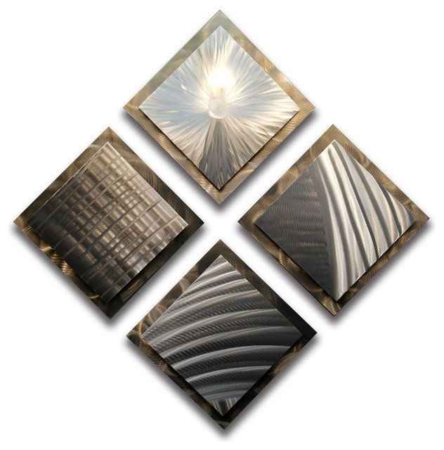 """""""gold Silver"""" Metal Wall Art By Miles Shay, 4-Piece Set."""
