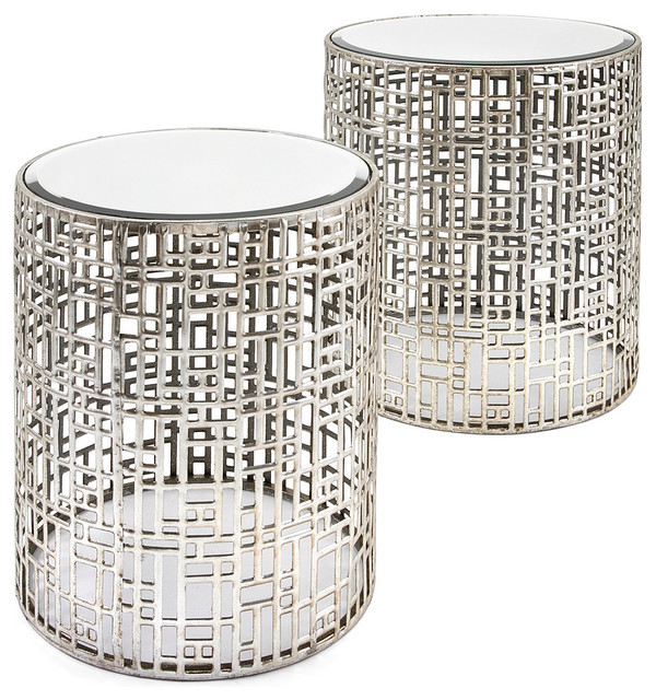 Evans Mirror Tables, Set Of 2 Contemporary Side Tables And End