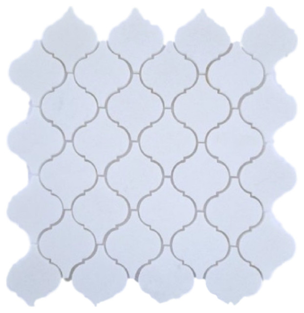 Thassos Greek White 3 Marble Lantern Arabesque Mosaic Tile