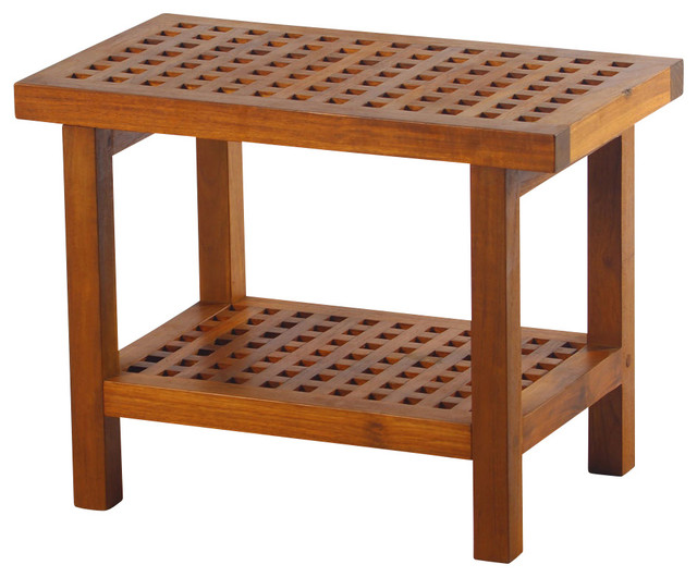 Teak Grate Bench With Shelf.