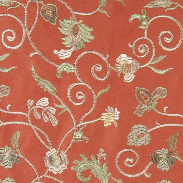 Salmon Green Gold Ivory Embroidered Vines Suede Upholstery