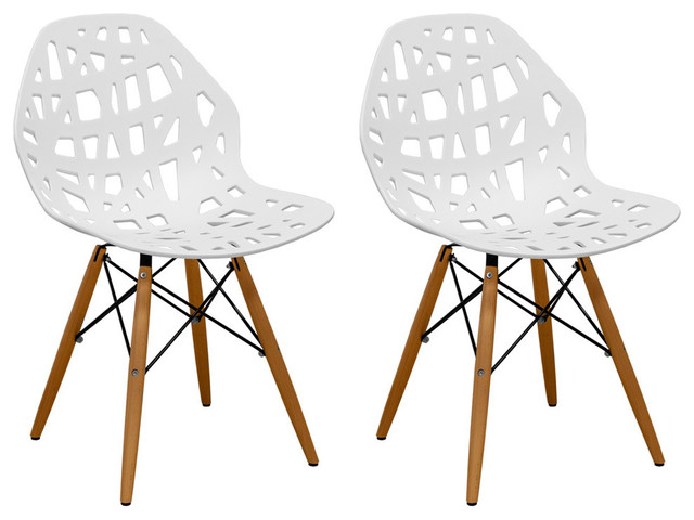 Stencil Cut Out Eiffel Dining Side Chair, Set Of 2, White