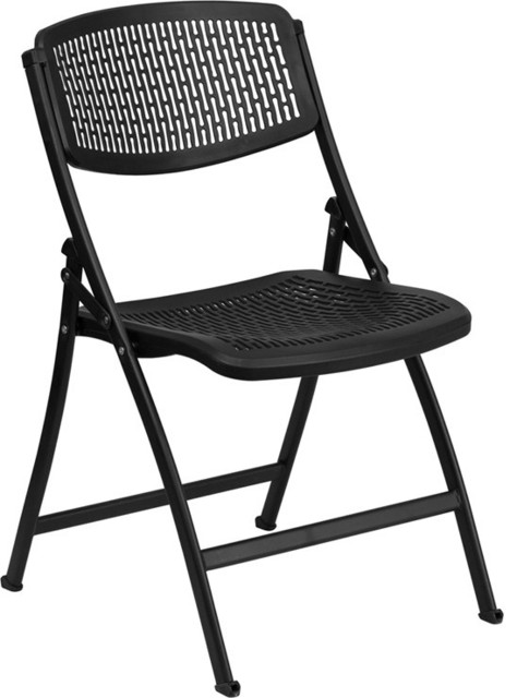 Hercules Series 990 Lb. Black Designer Comfort Molded Folding Chair  Contemporary Folding Chairs