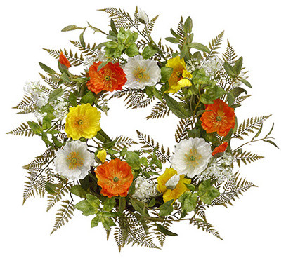 Silk Plants Direct Poppy And Queen Anne&x27;s Lace Wreath, Set Of 2.