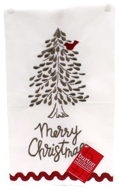 CHRISTMAS with Embroidered Snowflakes Pine and Berries Kitchen Tea Towel