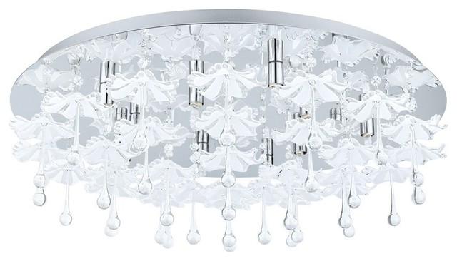 Ocondo 10-Light Flush Mount Chrome Mirrored Glass.