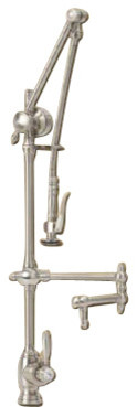 Waterstone Gantry Faucet / Pre-Rinse, Articulated Spout With Dish Sprayer.