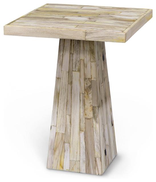Superior Grady Coastal Beach Petrified Wood Square Side Table Beach Style Side Tables