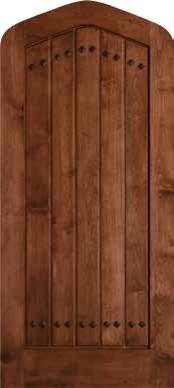 Jeld-Wen 1301 Clear Alder Tudor Door Cherry Finish Gothic Top