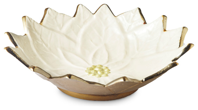 Snow Poinsettia 9-inch Gold Bowl