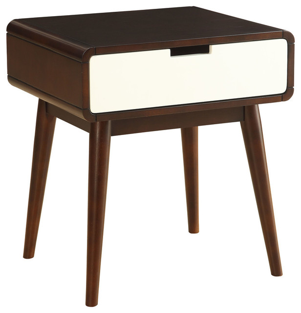 Midcentury Modern Wood End Table With Drawer, USB Power Dock, Espresso And  White Midcentury