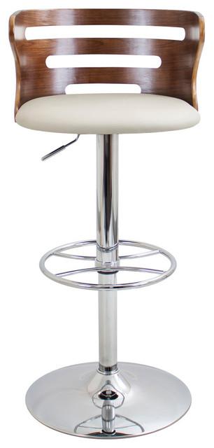 lumisource Cosi Adjustable Barstool in Walnut Wood, Cream