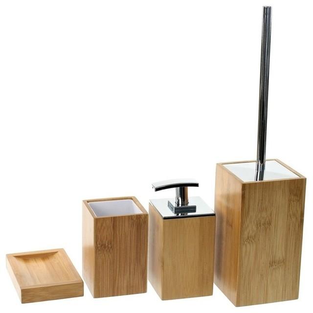 Nameeks wooden 4 piece bamboo bathroom accessory set for Bathroom 4 piece set