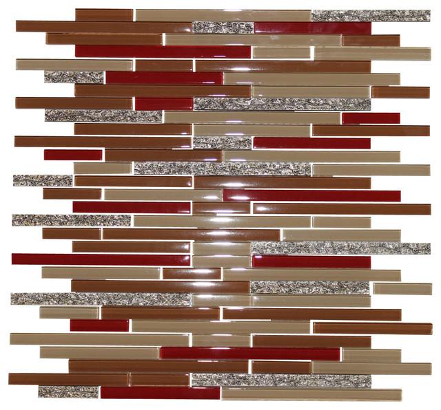 11 93 X12 91 Dynasty Red Strip Gl Crema Mocha Gold Vine Wall Backsplash Tile Contemporary Mosaic By Source Inc