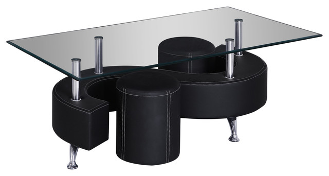 black faux leather and white stitching coffee table with 2 seats coffee tables by all in one. Black Bedroom Furniture Sets. Home Design Ideas