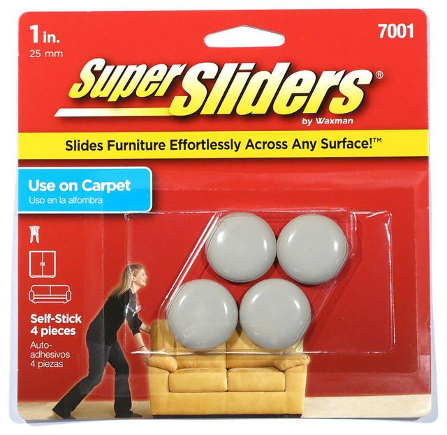 Superbe Waxman 1 Inch Self Stick Super Sliders 4 Pack (4700195N)