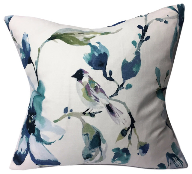 Watercolor Flowers And Bird Motif Pillow Contemporary Decorative Pillows By Kh Window Fashions Inc
