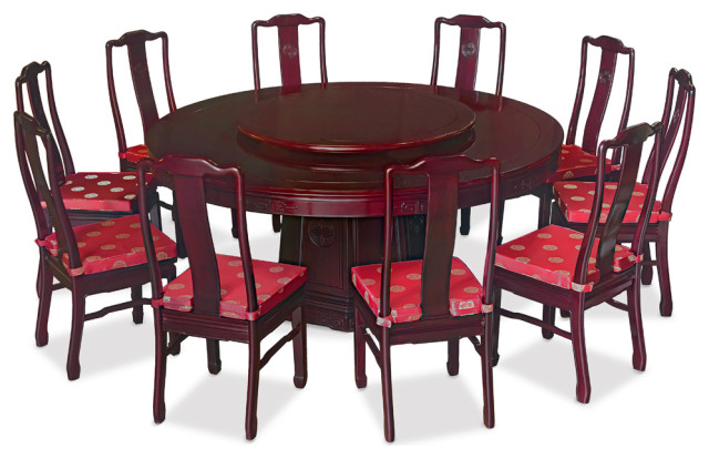 72in Rosewood Longevity Motif Round Dining Table With 10 Chairs Asian Dining Sets By China Furniture And Arts