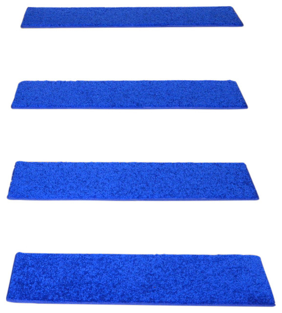 nonslip carpet stair treads electric blue plush set of 15
