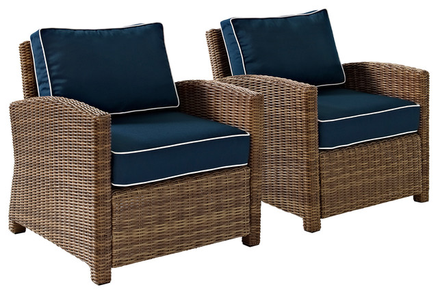 Bradenton 2-Piece Outdoor Wicker Seating Set With Navy Cushions.