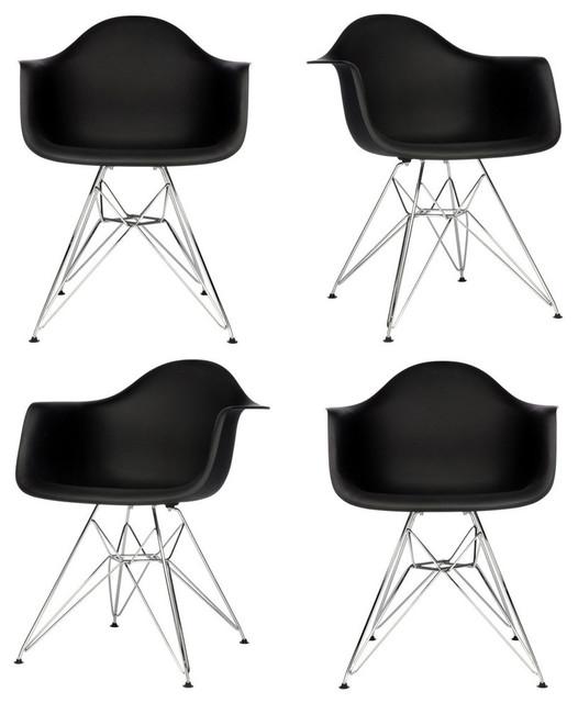 Astonishing Set Of 4 Dar Black Mid Century Modern Dining Armchair Steel Eiffel Legs Cjindustries Chair Design For Home Cjindustriesco