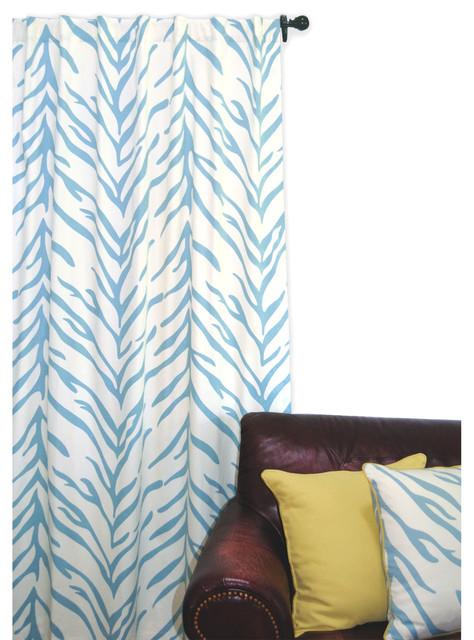 Shop Houzz | ez living home Zebra Window Panel, Turquoise and ...