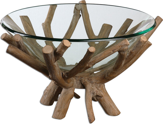 Thoro Wood Bowl, Natural Rustic Decorative Bowls