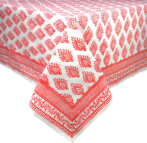 """Maria Salmon Red Tablecloth, 60""""x92"""""""