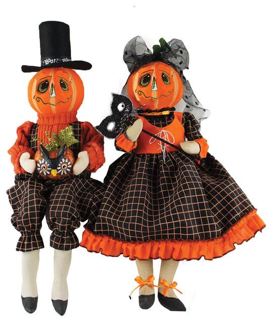 "Set Of 4 15 To 18 Victorian Carolers By Santa S Workshop: 18"" Jack O' Lantern Couple, Set Of 2"